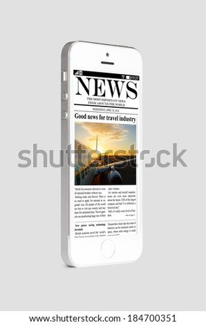 mobile phone with news on touch screen, isolated on gray - stock photo
