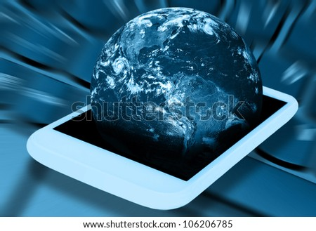 Mobile Phone With Planet Earth on Display. Elements of this image furnished by NASA. - stock photo