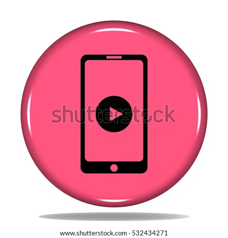 Mobile Phone With Play icon. Internet button.3d illustration.