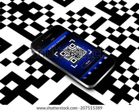 mobile phone with qr code screen  - stock photo