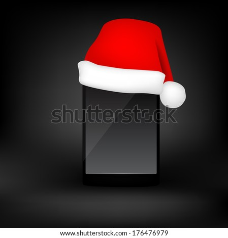 Mobile phone with red christmas hat. raster copy. - stock photo