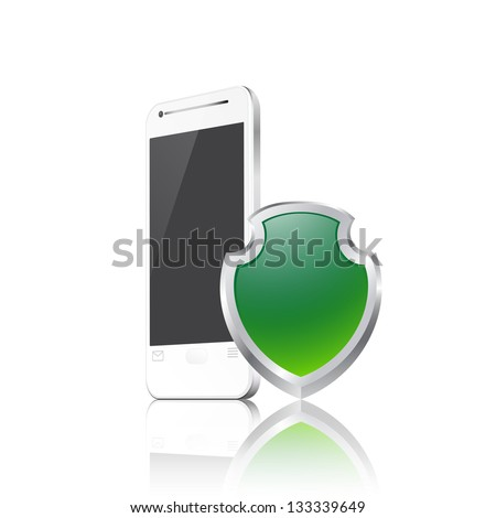 Mobile phone with shield. Raster version of the loaded vector. - stock photo