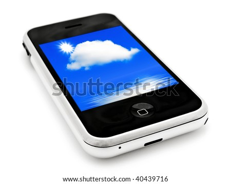 mobile phone with sky wallpapers over white - stock photo