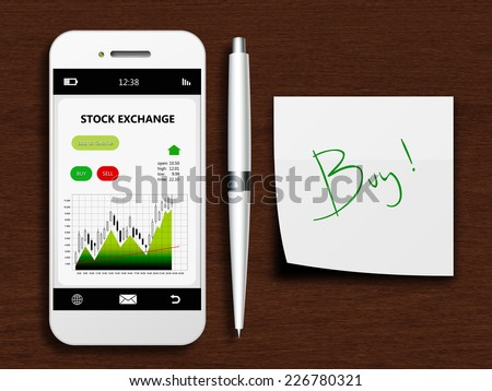 mobile phone with stock exchange screen, pen and buy note lying on wooden desk - stock photo