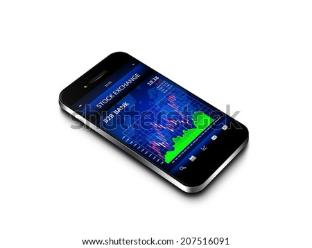 mobile phone with stock market chart isolated over white background