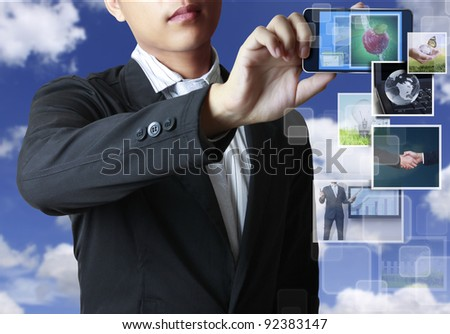 mobile phone with streaming images - stock photo