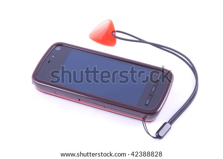 Mobile phone with the touch screen on a white background - stock photo