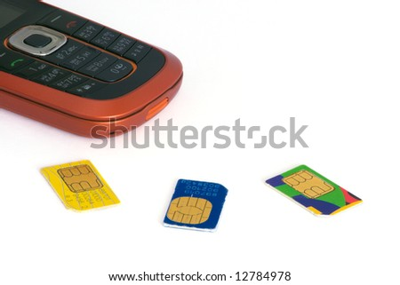Mobile phone with three SIM cards on white background