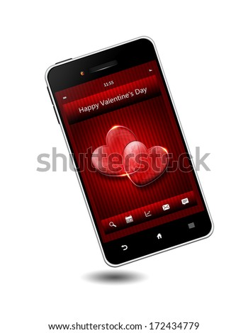 mobile phone with valentine's day wishes isolated over white background