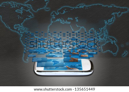 mobile phone world atlas bottom and fragments touchscreen - stock photo