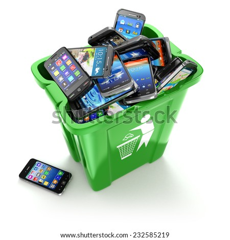 Mobile phones in trash can isolated on white background. Utilization cellphones concept. 3d - stock photo