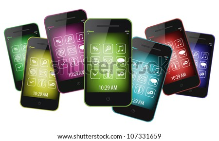 Mobile phones isolated on white background