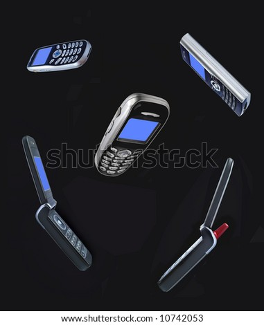 Mobile phones on black background - stock photo