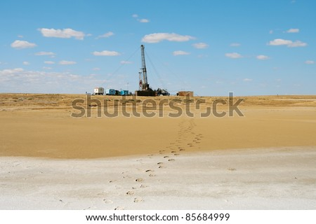 Mobile plant in underground repair of oil wells in the sky. - stock photo