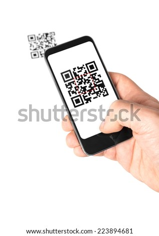 Mobile QR Code - stock photo