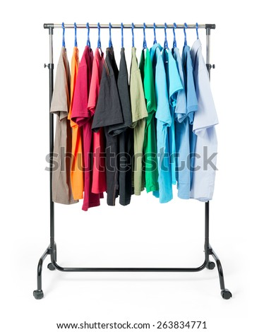 Mobile rack with clothes on white background. File contains a path to isolation.  - stock photo