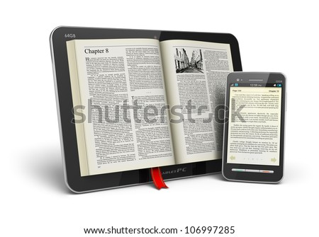 Mobile reading and literature library concept: book with text in tablet computer and touchscreen smartphone isolated on white background - stock photo