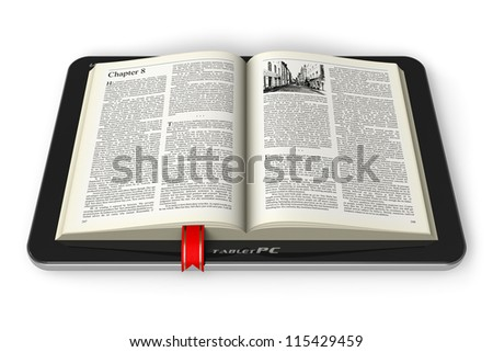 Mobile reading and literature library concept: book with text in tablet computer isolated on white background - stock photo