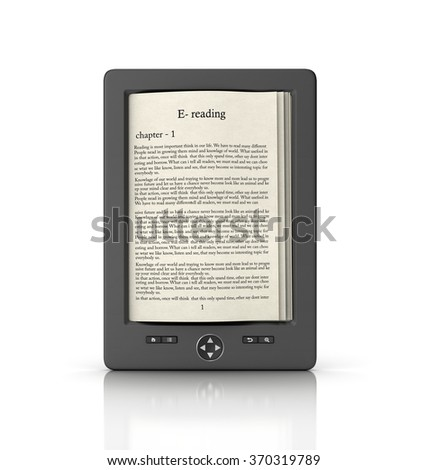 Mobile reading and literature library concept: book with text in tablet computer  isolated on white background