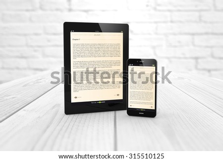 Mobile reading and literature library concept:: digital generated smartphone and tablet computer with book on screen. All screen graphics are made up. - stock photo