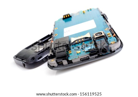 mobile repair, mobile disassembly by engineer - stock photo