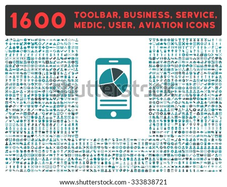 Mobile Report raster icon and 1600 other business, service tools, medical care, software toolbar, web interface pictograms. Style is bicolor flat symbols, soft blue colors, rounded angles, white - stock photo