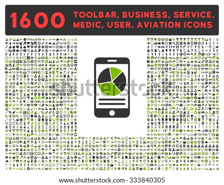 Mobile Report raster icon and 1600 other business, service tools, medical care, software toolbar, web interface pictograms. Style is bicolor flat symbols, eco green and gray colors, rounded angles - stock photo