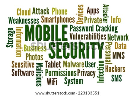 Mobile Security word cloud on white background - stock photo