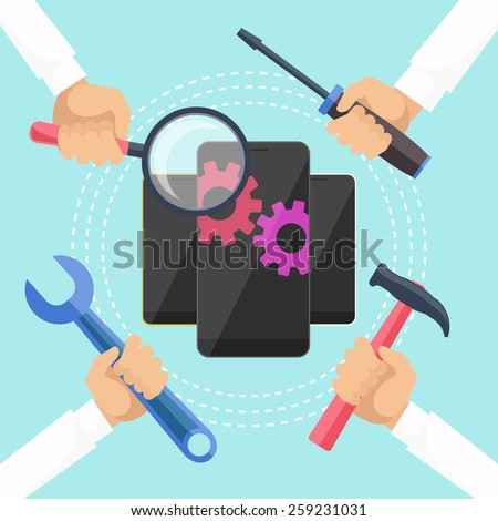 Mobile service concept. Smarthone with tools. Repair smart phone electronic. Hands with tools for repair phone. Flat icon modern design style concept. Raster version - stock photo