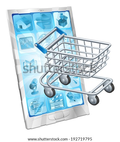 Mobile shopping app concept with a shopping cart or trolley coming out of a phone screen - stock photo