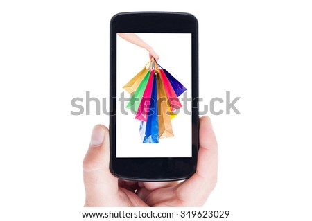 Mobile shopping concept using smartphone or cellphone - stock photo