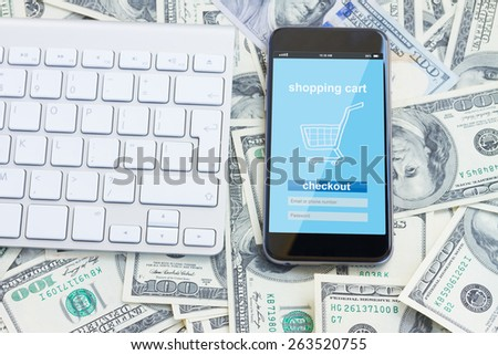 mobile shopping concept - virtual  virtual shop on phone screen - stock photo