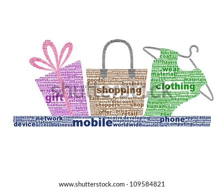 Mobile shopping icon design isolated on white. Business metaphor conceptual design - stock photo
