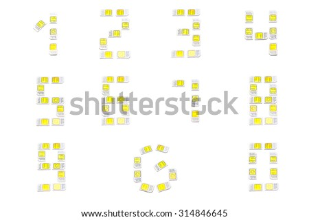 Mobile sim card numbers set isolated on white background and letter G - stock photo