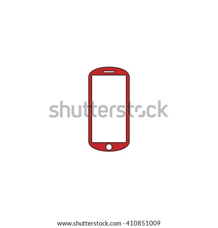 mobile Simple red icon on white background. Flat pictogram - stock photo