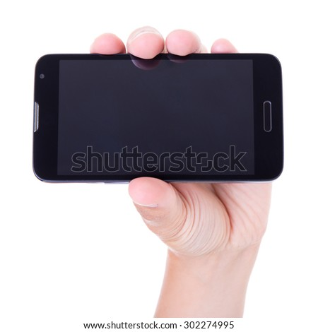 mobile smart phone in hand isolated on white background - stock photo