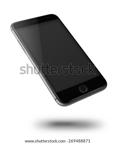 Mobile smart phone iphon style mockup with black screen isolated on white background. - stock photo