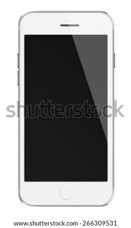 Mobile smart phone iphon style mockup with black screen isolated on white background. Highly detailed illustration.
