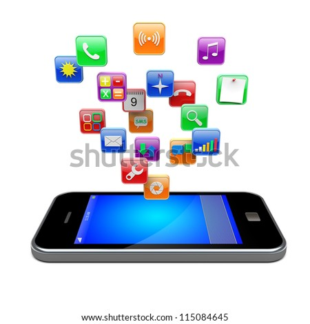 Mobile smart phone with software apps icons . 3d image
