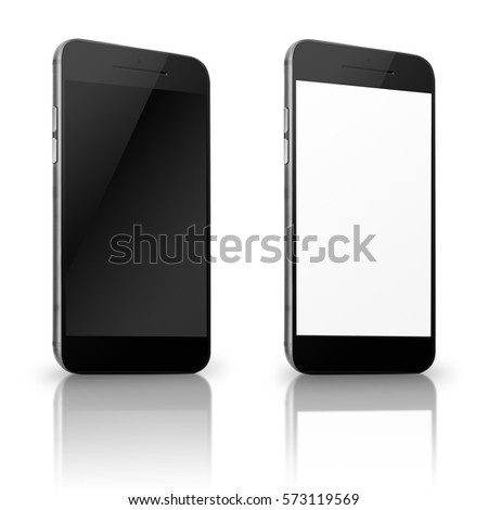 Mobile smart phone with white and blank screen isolated on white background. 3D illustration