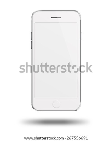 Mobile smart phone with white screen isolated on white background. Highly detailed illustration. - stock photo
