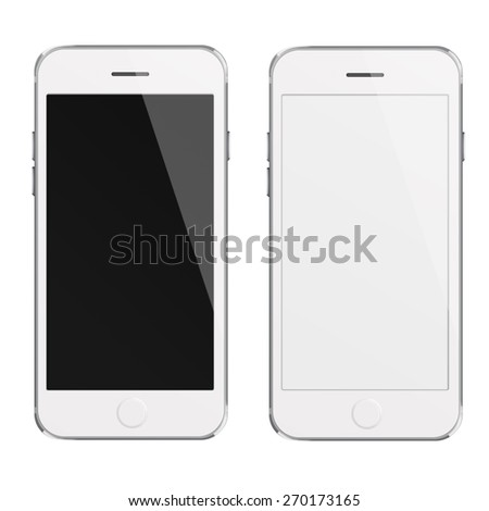 Mobile smart phones iphon style mockup with white and blank screen isolated on white background. Highly detailed illustration. - stock photo