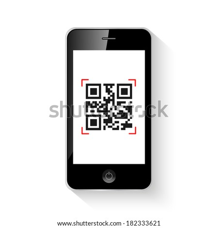 Mobile smartphone qr code illustration. (EPS vector version also available in portfolio) - stock photo