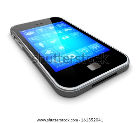Mobile smartphone with blue touch screen and apps . 3d image