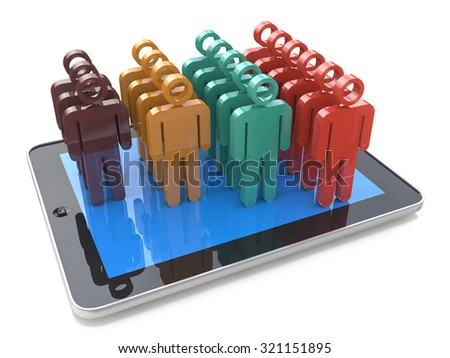 Mobile social media networking and client management growth concept: bar graph chart from color human figures on modern black glossy portable tablet PC computer isolated on white background - stock photo