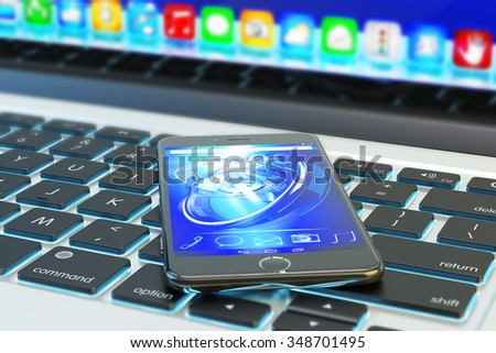 Mobile technology, communication equipment and mobility concept, modern phone or smartphone on laptop keyboard closeup view