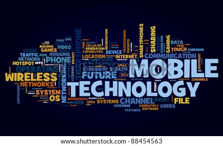 Mobile technology concept in tag cloud on black - stock photo