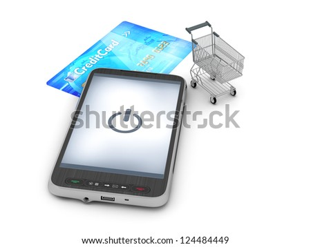 Mobile technology in shopping - abstract illustration - stock photo