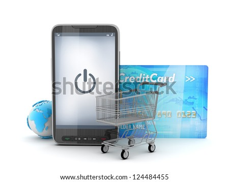 Mobile technology in shopping - concept illustration - stock photo