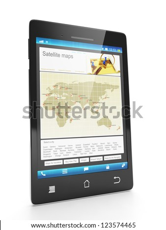Mobile technology. Loading new city maps on a mobile phone